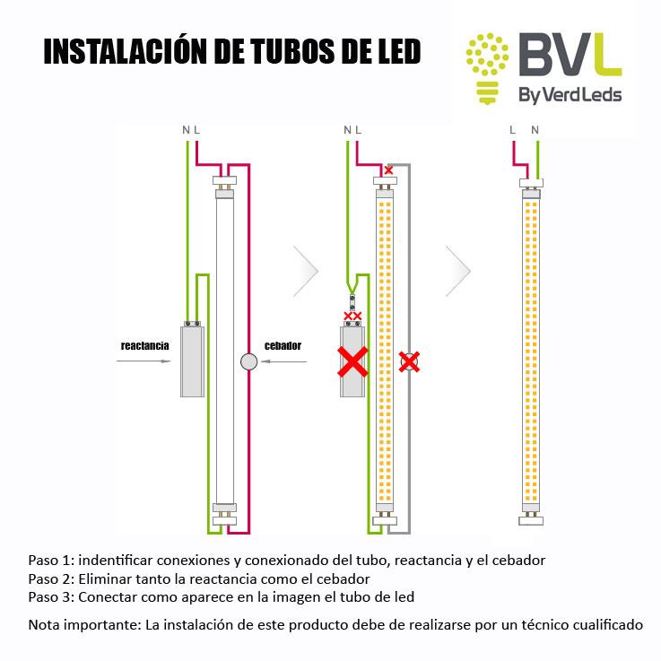 Conexion tubos de led