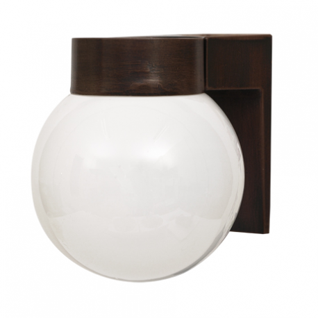 APLIQUE EXTERIOR PARA PARED GLOBO CON BASE MARRON