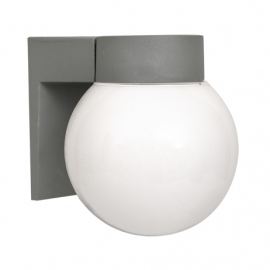 Aplique exterior para pared globo con base color gris