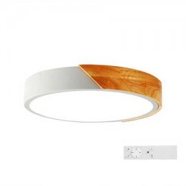 Plafón led 100W blanco y madera regulable 600mm