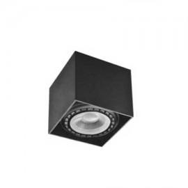 Aplique negro cuadrado para bombilla AR111 140x140mm