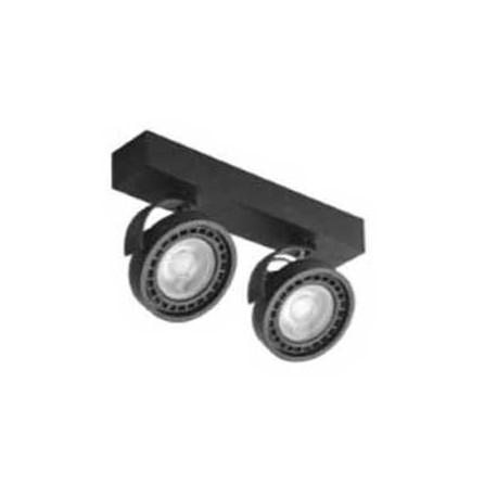 Aplique negro doble para bombillas AR111 giratorio 330º