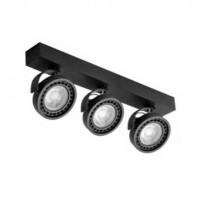 Aplique negro triple para bombillas AR111 giratorio 330º