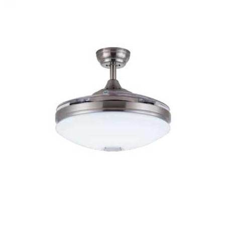 Ventilador de techo MALLORCA níquel. Aspas plegables y altavoz bluetooth