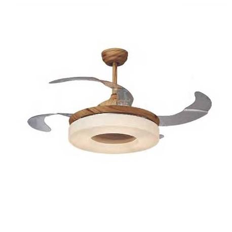 Ventilador de techo OLSON marrón. Aspas plegables y luz.