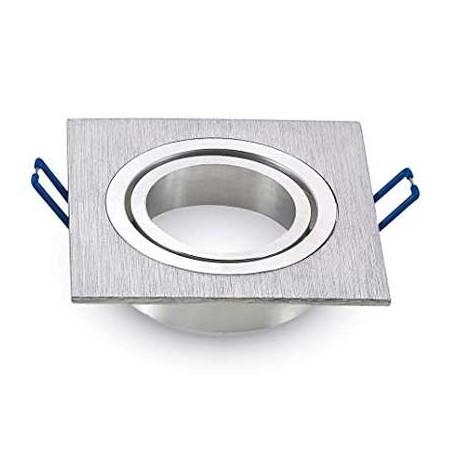 Aplique para GU10 cuadrado plata 91x91x25mm basculante