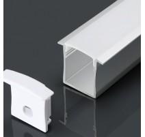 Perfil empotrar de aluminio acabado plata 2000x30x20 mm