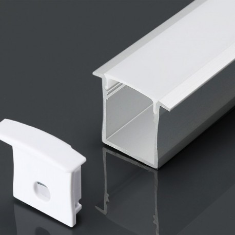 Perfil empotrar de aluminio acabado blanco 30x20 mm