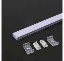 Perfil superficie de aluminio acabado plata 2000x23.5x10 mm
