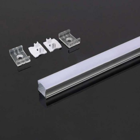 Perfil superficie de aluminio acabado plata 2000x17.2x15.5 mm