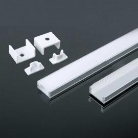 Perfil superficie de aluminio acabado plata 2000x17.4x7 mm