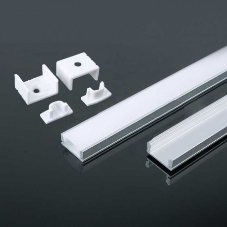 Perfil superficie de aluminio acabado blanco 2000x17.4x7 mm