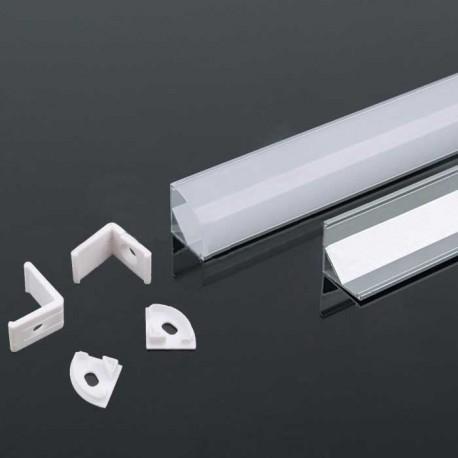 Perfil esquina de aluminio acabado plata 2000x15.8x15.8 mm