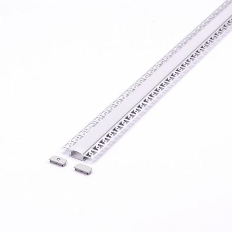 Perfil arquitectonico de aluminio acabado blanco 24.5x14 mm