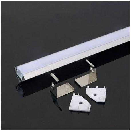Perfil esquina de aluminio acabado blanco 2000x19x19 mm