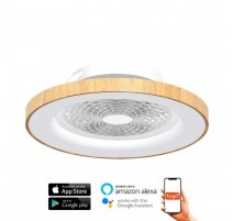 Ventilador de techo TIBET madera y blanco DC LED CCT MANTRA