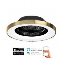 Ventilador de techo TIBET negro y dorado DC LED CCT MANTRA
