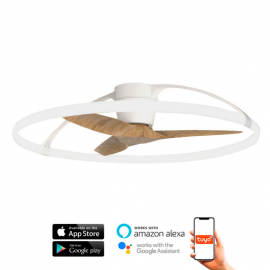 Ventilador de techo NEPAL blanco y haya DC LED CCT Mantra