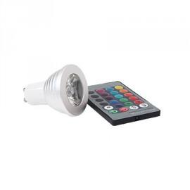 BOMBILLA LED RGB CON MANDO GU10 3W