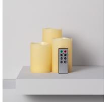 Pack de 3 velas led cera natural con control remoto